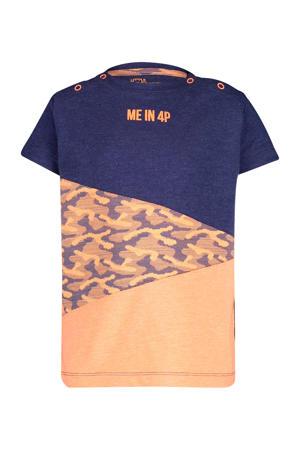 T-shirt Augustin neon oranje/donkerblauw