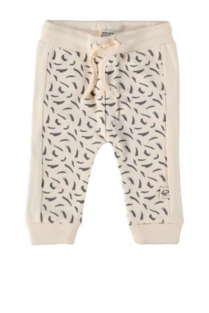 baby tapered fit broek London met all over print beige/antraciet