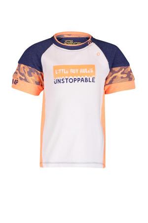 T-shirt Tristan wit/oranje/donkerblauw