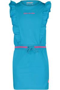 4PRESIDENT jurk Crystal met tekst en ruches turquoise/roze, Turquoise/roze