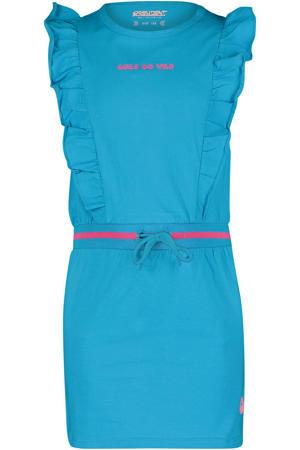 jurk Crystal met tekst en ruches turquoise/roze