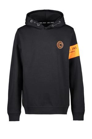 hoodie Freehold met logo zwart/oranje