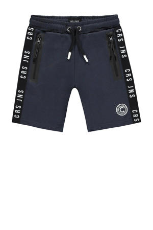 regular fit sweatshort Haskell met zijstreep donkerblauw/wit