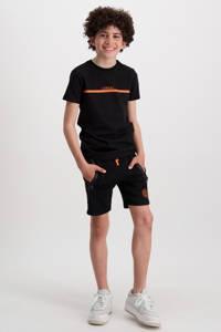 Cars regular fit sweatshort Haskell met zijstreep zwart/oranje, Zwart/oranje