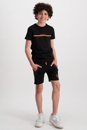 regular fit sweatshort Haskell met zijstreep zwart/oranje