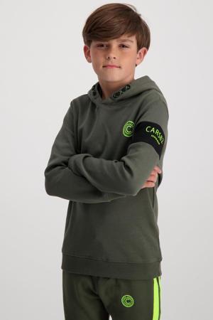 hoodie Freehold met logo army groen/zwart