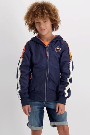 zomerjas Galway met contrastbies donkerblauw/oranje