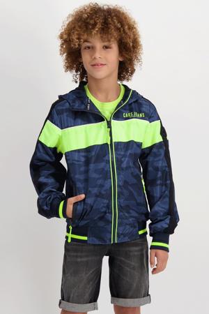 zomerjas Brydell met camouflageprint donkerblauw/neon geel