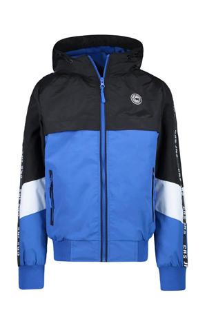 zomerjas Xavo met contrastbies kobaltblauw/zwart/wit