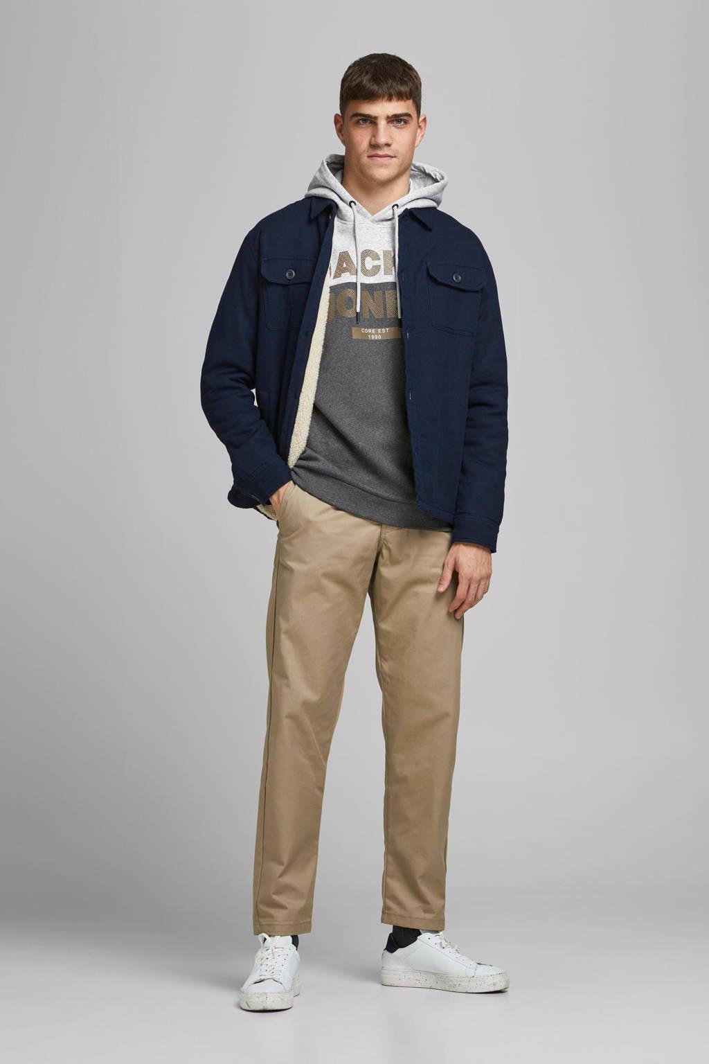 JACK & JONES CORE hoodie met logo grijs melange, Grijs melange