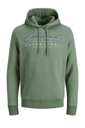 hoodie met logo lichtgroen melange