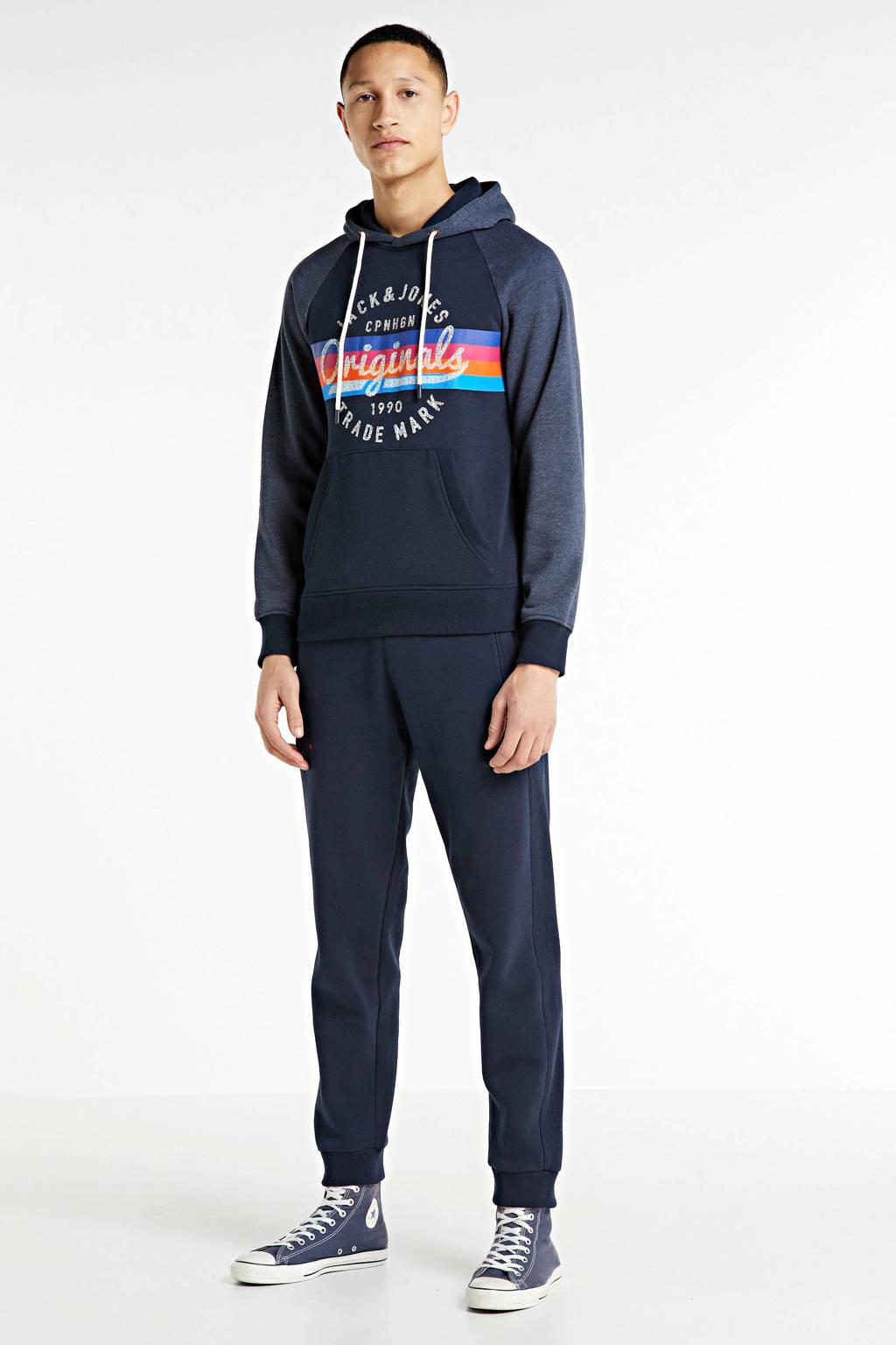 JACK & JONES ORIGINALS hoodie met logo donkerblauw, Donkerblauw