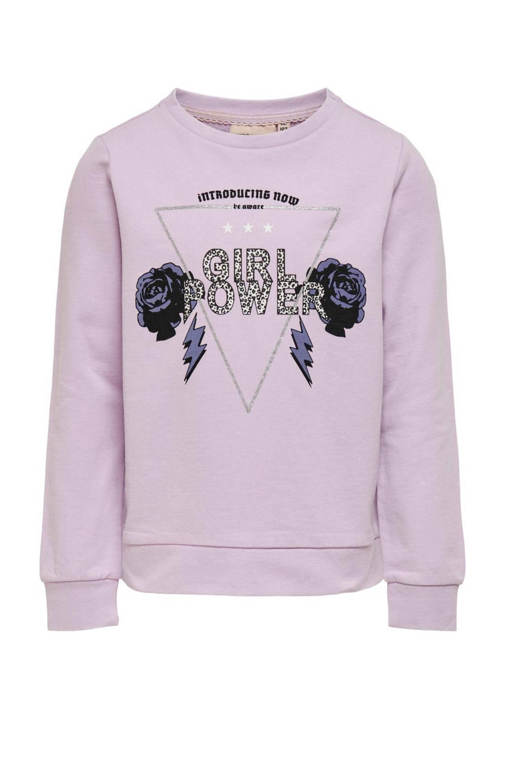 KIDS ONLY sweater Lucinda met printopdruk en glitters lila/zwart/zilver, Lila/zwart/zilver