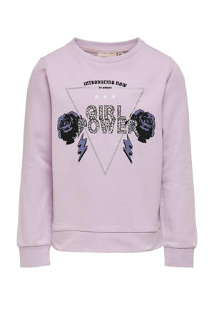 sweater Lucinda met printopdruk en glitters lila/zwart/zilver