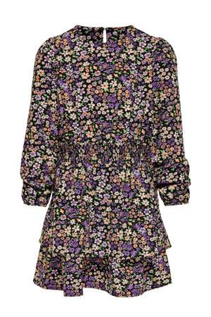 jurk met all over print zwart/paars/oranje