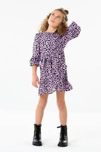 KIDS ONLY jurk Solveig met all over print en ceintuur lila/zwart, Lila/zwart