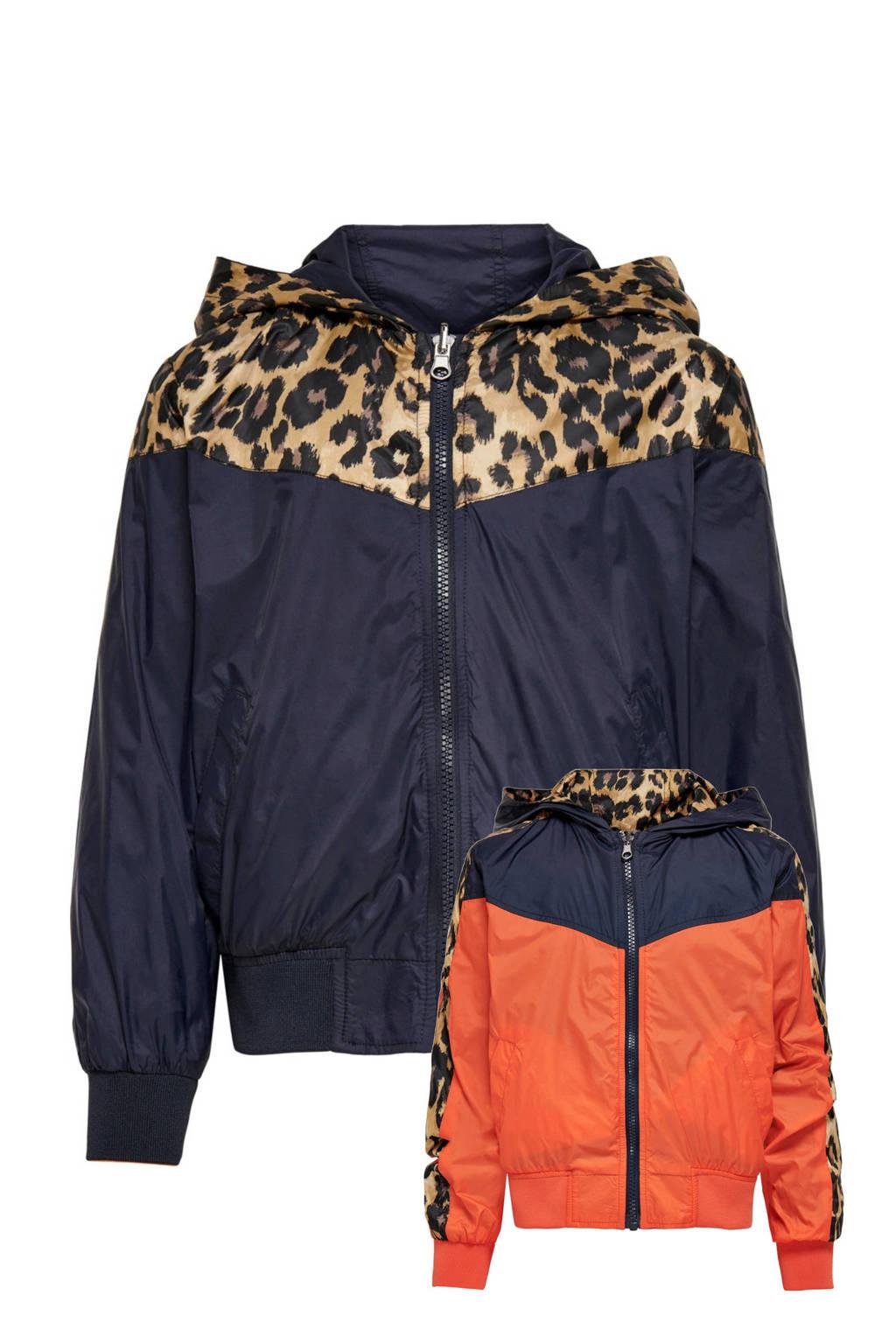 KIDS ONLY reversible  zomerjas Mila met contrastbies donkerblauw/donker oranje/bruin, Donkerblauw/donker oranje/bruin