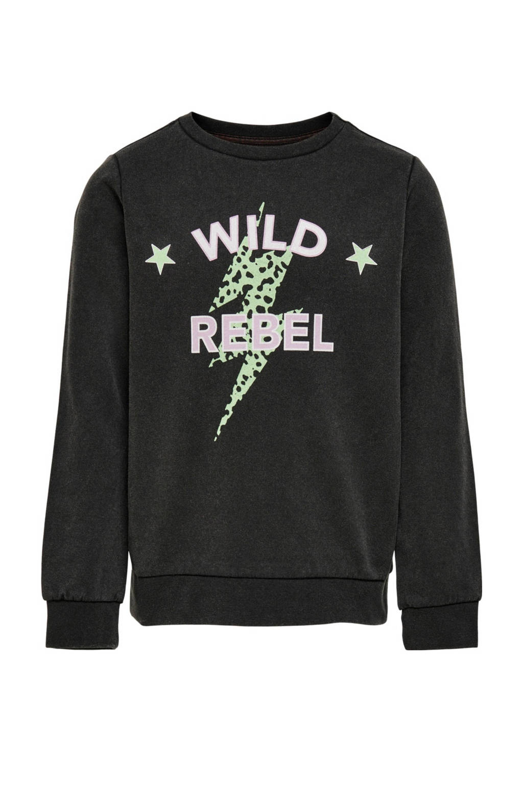 KIDS ONLY sweater Lucinda met tekst zwart, Zwart