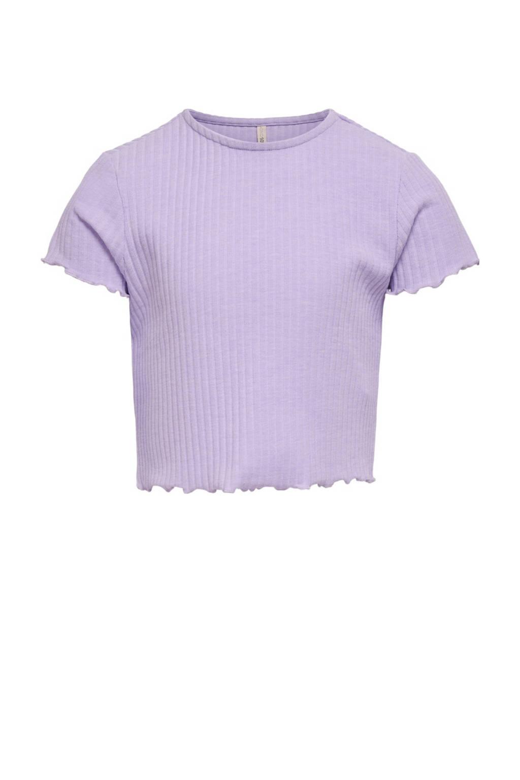 KIDS ONLY ribgebreid T-shirt Nella lila, Lila