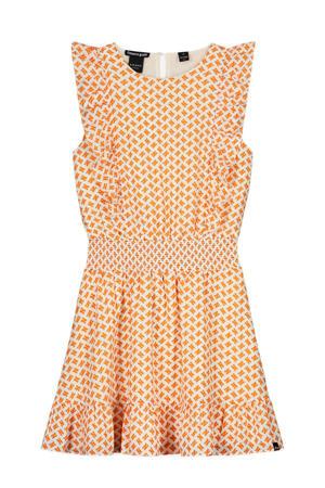 jurk Anne met all over print en ruches oranje/ecru