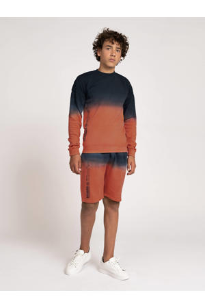 dip-dye sweater August oranjerood/blauw