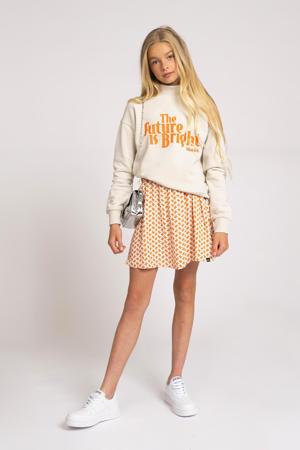 sweater Future met tekst ecru/oranje
