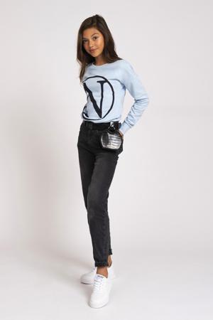 sweater Kim N met printopdruk lichtblauw