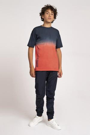 dip-dye T-shirt August oranjerood/blauw