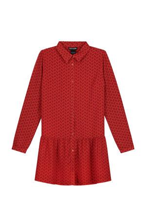 jurk Abby met all over print en volant rood