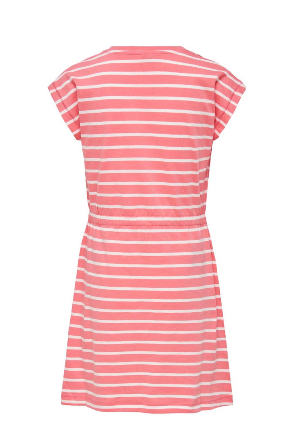 KIDS ONLY gestreepte A-lijn jurk May van biologisch katoen roze/wit, Roze/wit