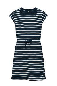 KIDS ONLY gestreepte A-lijn jurk May van biologisch katoen donkerblauw, Donkerblauw/wit