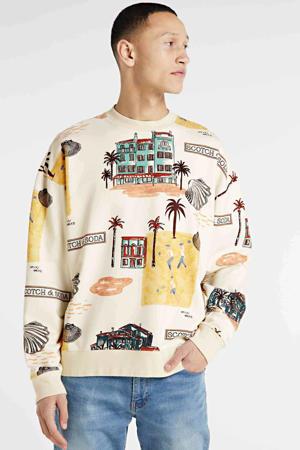 sweater met all over print ecru