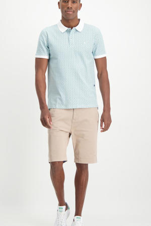 slim fit polo met all over print wit/lichtblauw