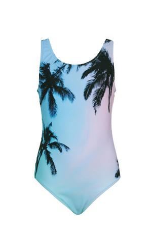 badpak met palmprint turquoise/roze