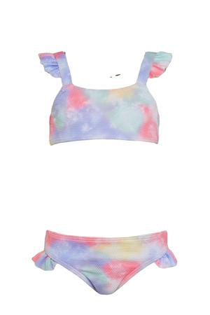 baby girls crop bikini met all over print en ruches roze/lila