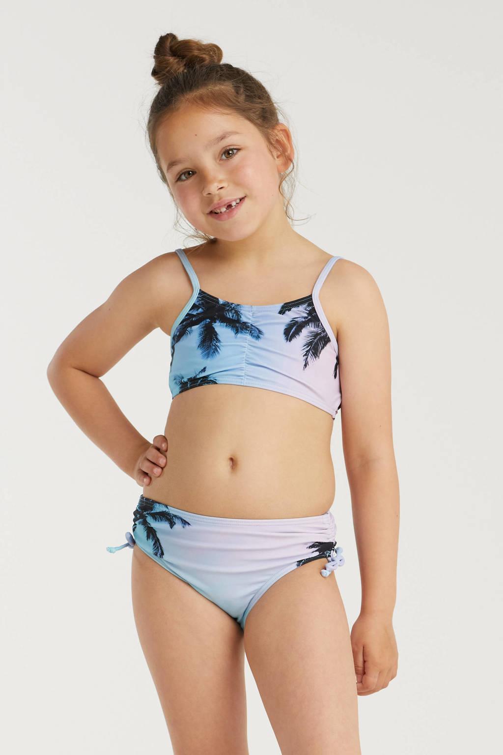BEACHWAVE meisjes crop bikini met palmprint turquoise/roze, Turquoise/roze