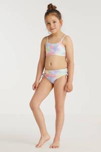 BEACHWAVE meisjes crop bikini met all over print roze/lila, Roze/lila