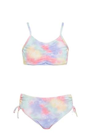 meisjes crop bikini met all over print roze/lila