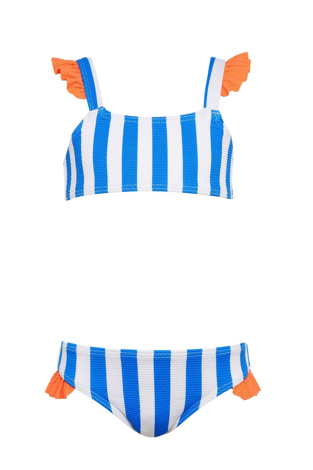 BEACHWAVE baby girls gestreepte crop bikini met ruches blauw/wit, Blauw/wit