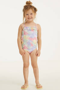 BEACHWAVE baby girl badpak met pastelprint roze/lila, Roze/lila