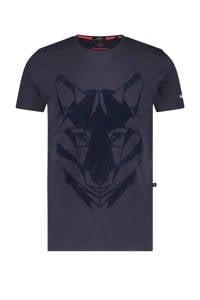 Haze & Finn T-shirt met printopdruk donkerblauw, Donkerblauw