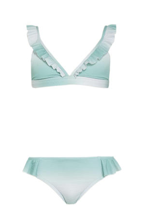 meisjes bikini met all over print turquoise