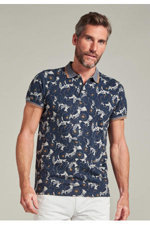 slim fit polo met all over print donkerblauw/grijs
