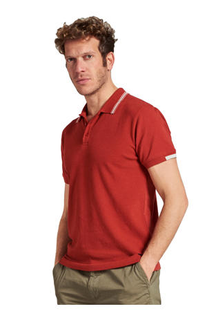 regular fit polo met contrastbies rood