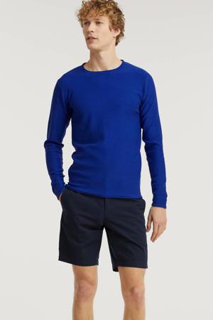 fijngebreide trui Cooper kobaltblauw