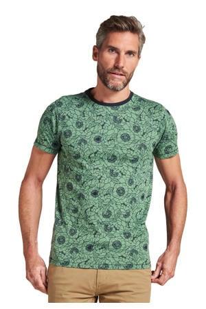 T-shirt met all over print groen
