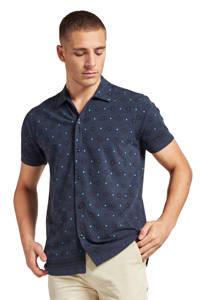 Dstrezzed slim fit overhemd met all over print donkerblauw, Donkerblauw