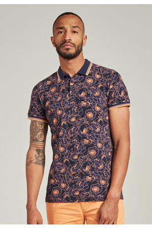 slim fit polo met all over print donkerblauw/zalm