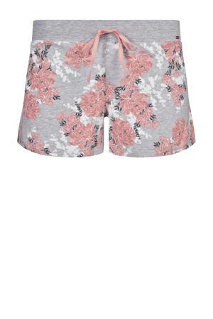 gebloemde pyjamashort grijs/roze