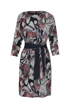 jurk met all over print grijs/rood/donkerblauw